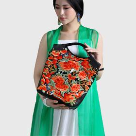 锦绣刺绣牡丹手提包
