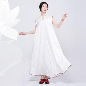 茶白两件套连衣裙