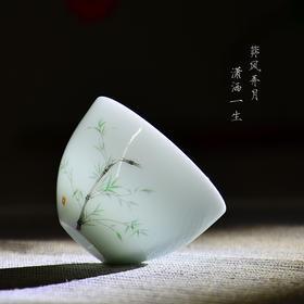 景德镇影青瓷功夫茶杯品茗杯个人杯小茶杯主人杯单杯陶瓷茶碗茶盏