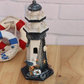 地中海风格手工木质灯塔工艺品摆件