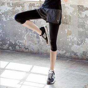 瑜伽裤跑步长裤健身裤高弹力假两件运动裤女