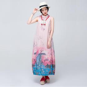 花草盈盈丝麻连衣裙