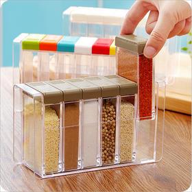 【厨房用品】厨房用品透明塑料调料盒 调料瓶六件套装 盐味精调味罐调料收纳盒
