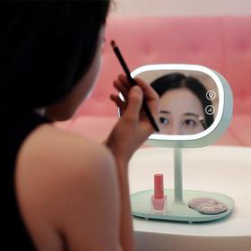 【镜子】MUID可充电式LED化妆镜台灯卧室床头灯创意储物多功能镜子台灯1.1