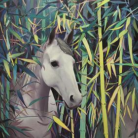 【版画】谢雷铭(中国)|竹子与马