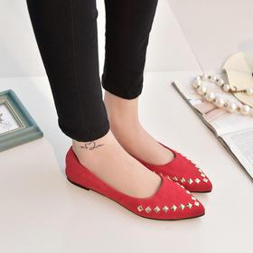 (尖头单鞋)韩版春秋夏季新款尖头浅口铆钉平底休闲鞋平跟简约百搭女单鞋 | 基础商品