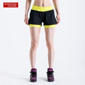 跑步指南 女款带内衬假两件跑步短裤P6003