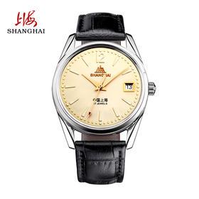 上海手表 经典复古皮带日历腕表男士手动机械表510-5