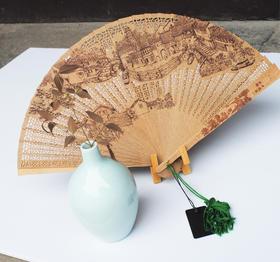 檀香扇子中国风女式折叠扇 苏州工艺礼品古风缅香木折扇女