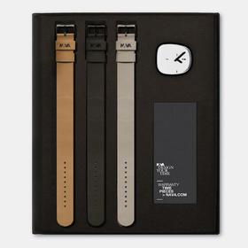 NAVA 鹅卵石创意腕表 1表3戴礼盒|黑白两款(意大利)