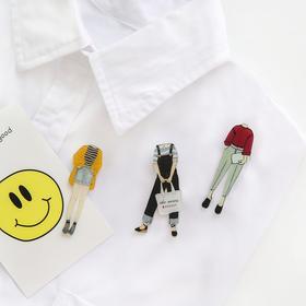 日系原宿风格 卡通人型徽章配饰胸针   文具