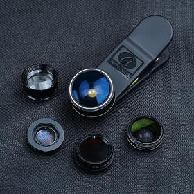 爱派赛手机镜头五合一镜头套装:鱼眼广角微距增距偏振,自拍通用