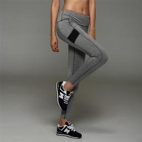 麻色拼接高弹力糖果色瑜伽九分裤  跑步跳操健身