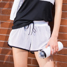 女款假两件运动短裤 - 个性网眼透气速干
