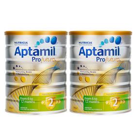 新西兰Aptamil爱他美白金版婴幼儿配方奶粉2段(6-12个月)900g/罐*2
