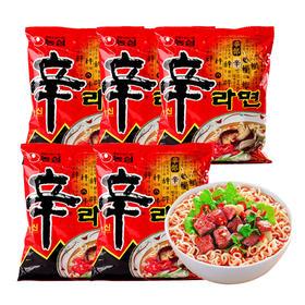韩国进口农心辛拉面120g*5包  品牌方便面组合经典速食煮面泡面