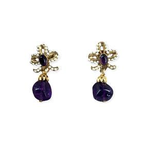 【贝拉】925银镀金小花吊紫水晶耳环