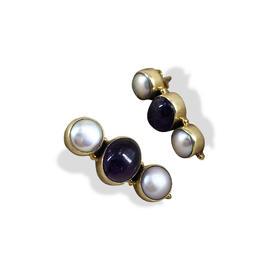 【贝拉】925银镀金 镶嵌紫晶三球耳环