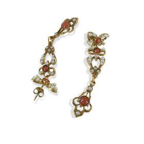 【贝拉】撒丁岛珊瑚石镶嵌天然珍珠长款耳环