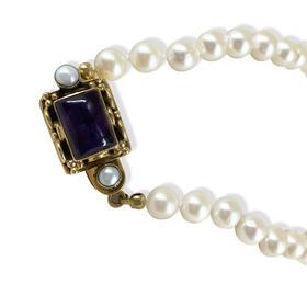 【贝拉】925银镀金紫水晶天然珍珠项链