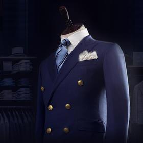 男士100%羊毛面料深蓝色布雷泽西装上衣