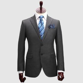Eabri男士麻衬工艺灰色平驳领单排二粒扣西服