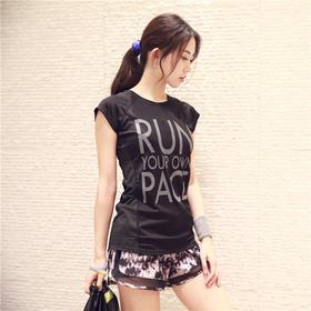 女款运动跑步文字速干短袖