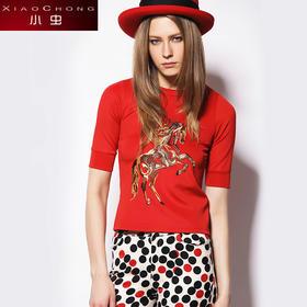 【骆驼子品牌-小虫】小虫 欧美时尚五分袖上衣圆领T恤修身显瘦卫衣女T恤女XC14S3021