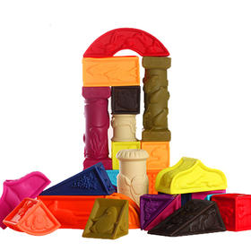 美国B.Toys 宝宝软浮雕软胶软积木罗马城堡积木可咬 罗马城堡
