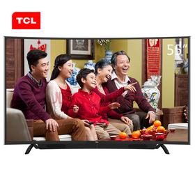 TCL L55P1S-CF 55英寸 双系统+瀑布式音响 高色域安卓智能曲面电视