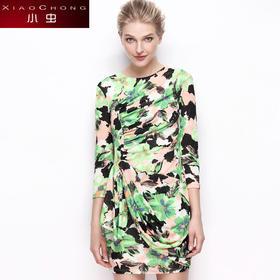 【精选特惠】【骆驼子品牌-小虫】欧美时尚印花个性褶皱修身气质连衣裙七分袖中裙X5ALY0025