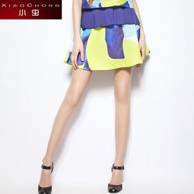 【精选特惠 】【骆驼子品牌-小虫】时尚几何印花半身裙女百搭低腰短裙A字裙X5BBQ0184