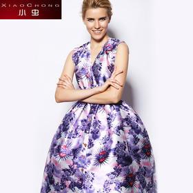 【精选特惠 】【骆驼子品牌-小虫】欧美时尚单排灯罩摆裙子无袖收腰显瘦印花连衣裙女XC14Q1111