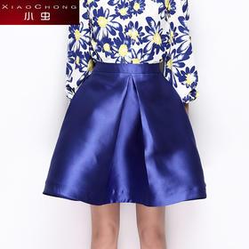 【骆驼子品牌-小虫】哑光大A廓形压褶半身裙感亮蓝伞裙中裙女X5ABQ0076