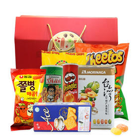 全球进口零食大礼包超值8连包 阿瑞达玉米片泰国大哥花生豆好丽友薯片 休闲零食