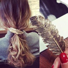 韩国唯美羽毛发夹刘海一字夹发饰弹簧夹复古夹子抓夹饰品JH