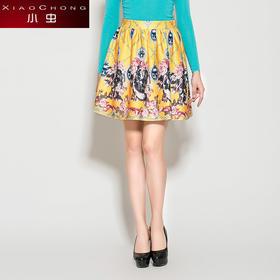 【骆驼子品牌--小虫】欧美印花褶皱蓬蓬裙A字裙复古半身裙短裙潮X4BQ0024D