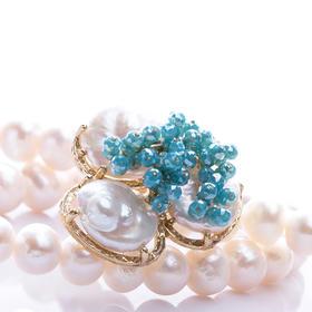【Lady】珍珠蓝晶项链-78颗天然淡水珍珠镶嵌蓝水晶