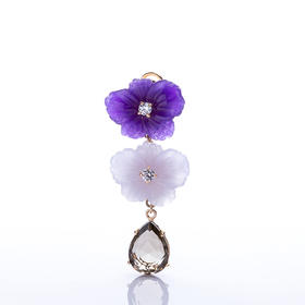 【Lady】茶晶花朵耳环-白紫石英石,白水晶,纯银镀金镶嵌茶水晶