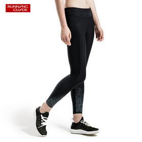 跑步指南6623 女款紧身九分裤 - 裤腿星空反光特效