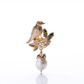 【Lady】珍珠金鸟耳环-天然淡水珍珠,纯银镀金鸟