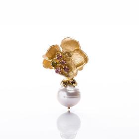 【Lady】珍珠水晶金花耳环-925纯银镀金花朵,天然淡水珍珠耳环