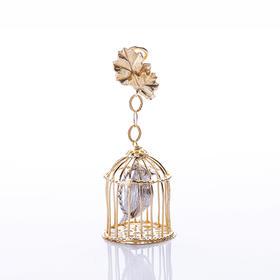 【Lady】镀金花鸟耳环-纯银小鸟,925纯银镀金花朵