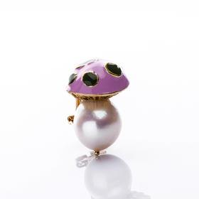 【Lady】珍珠粉蘑菇耳钉-天然淡水珍珠,珐琅彩镀蘑菇
