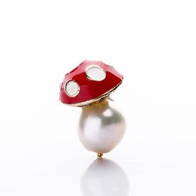 【Lady】珍珠红蘑菇耳钉-天然淡水珍珠,珐琅彩镀蘑菇
