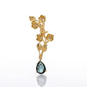 【Lady】切尔西花蓝晶耳环-925纯银镀金切尔西花,镶嵌蓝水晶