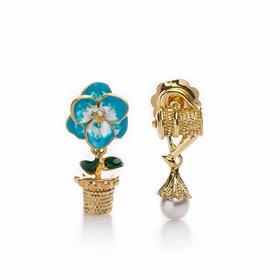【Lady】珍珠小花壶耳环-925纯银镀金小茶壶,珐琅彩镀小兰花