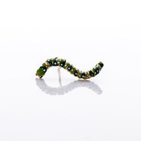 【Lady】毛毛虫珐琅耳钉-925纯银镀金,手绘珐琅毛毛虫