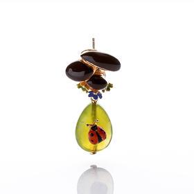 【Lady】瓢虫树脂绿宝石耳环-天然树脂,手绘珐琅瓢虫