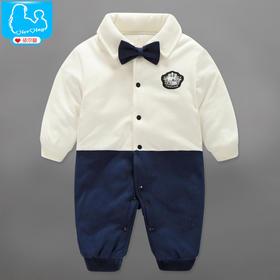 婴儿棉衣服秋冬季绅士连体衣加厚新生儿3-12个月保暖哈衣爬服LTY451